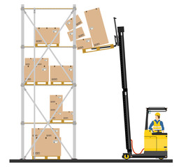Illustration of forklift operating in the racks.