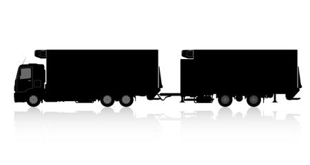 Silhouette of a truck with a trailer.