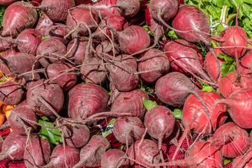 Display of red beets at the market