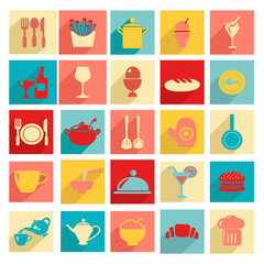 Flat design Restaurant and dining icons  Silhouettes