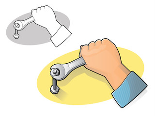 Wrench and Hand Icon