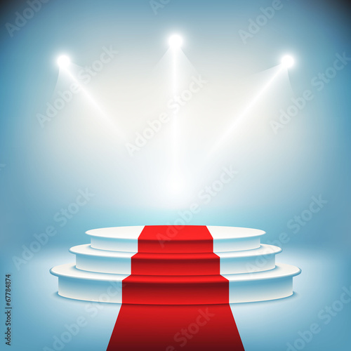 Fototapeta Illuminated stage podium for award ceremony vector