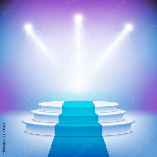 Illuminated stage podium for award ceremony vector - 67784879