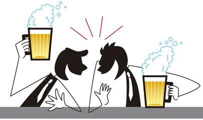 ビールを飲んで盛り上がるビジネスマン
