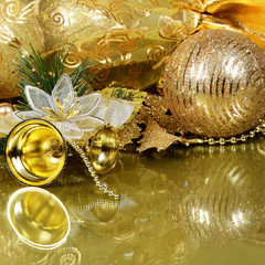 The christmas tree ornaments on gold