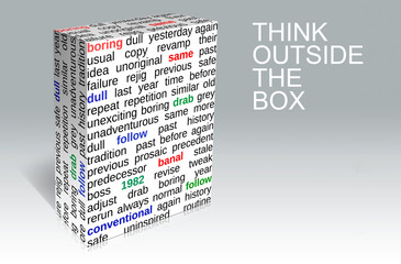 Think outside the box - business creativity. Background.