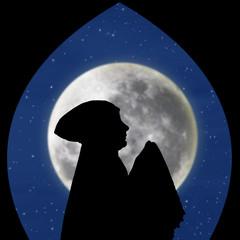 Card design of muslimah pray on blue moon