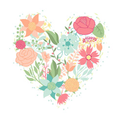 Invitation card with pretty stylized flowers in heart shape.