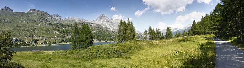 Panoramic view of Sils Lake - Switzerland - Europe