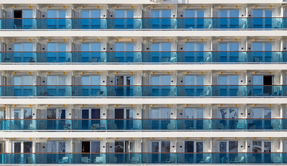 Cabin balconies of a modern cruise ship
