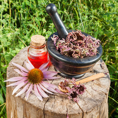 black mortar with dried coneflowers and vial with essential oil