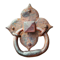 Door knocker, ancient handle, isolated