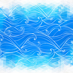 Abstract triangular background with hand-drawn waves