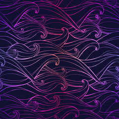 Abstract seamless pattern with hand-drawn waves. Vector illustra