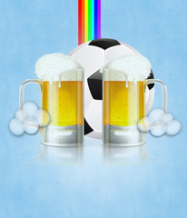 Beer Glass and Soccer Ball