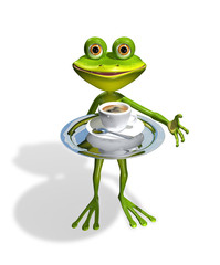 frog with a cup of coffee