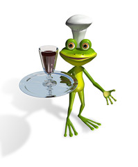 frog with a glass of wine on a tray