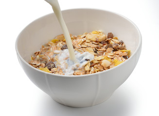 Healthy breakfast with milk,muesli