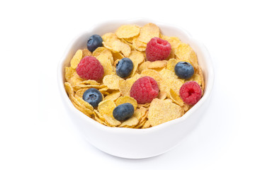 corn flakes with berries, isolated, top view