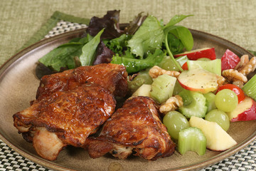 Roast chicken thighs with mixed salad