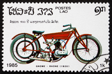 Postage stamp Laos 1985 Gnome Rhone, 1920, Motorcycle