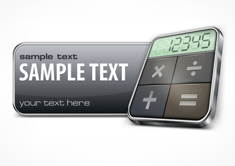 Promotion banner with calculator on white, business concept,