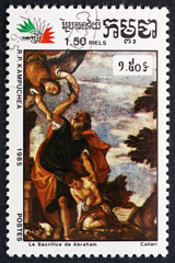 Postage stamp Cambodia 1985 Sacrifice of Abraham, by Veronese