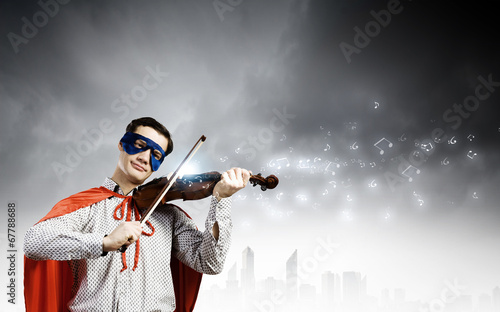canvas print picture Superman playing violin
