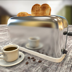 toaster with bread heart