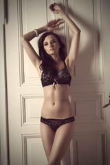 indoor shoot of girl in lingerie