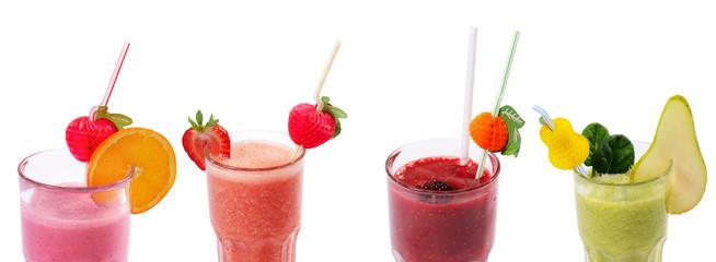 Freshening strawberry smoothie  isolated on white