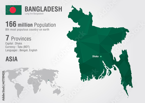 Bangladesh world map woth a pixel diamond texture.