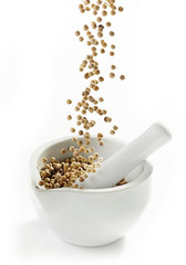 white peppercorns falling into mortar and pestle