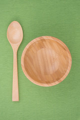wooden spoon and wooden bowl