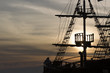 Silhouette of sails of an antique ship, masts and bowsprit of a - 67790274