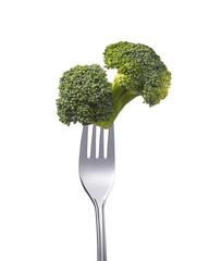 Broccoli auf einer Gabel