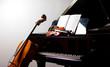 Leinwanddruck Bild - Classical music concept: cello, violin, piano and a score