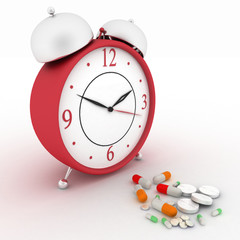 Conception of reception of pills on hours