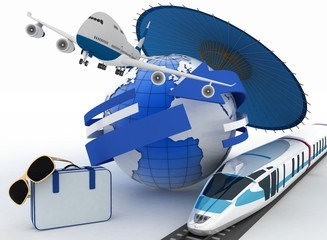 3d suitcase, airplane, train, globe and umbrella