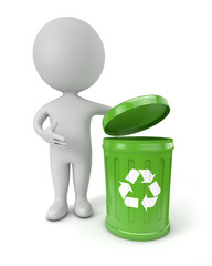 3d cute people - green recycling bin
