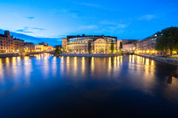 Summer evening panorama of the Old Town in Stockholm, Sweden