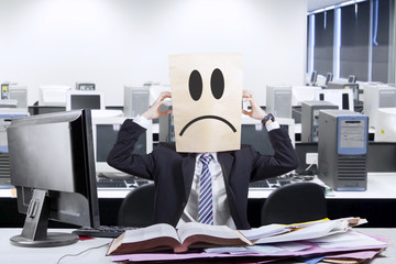 Frustrated anonymous businessman