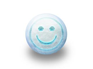 Boule de noël givrée smiley