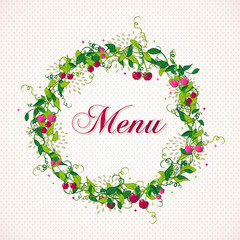Vintage cherry plant wreath menu background
