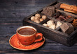 Hot chocolate, chocolate, cocoa beans  and spices