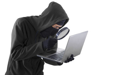 Hacker doing cybercrime activity