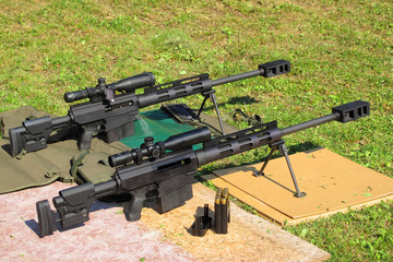 Sniper rifles caliber .50 BMG on shooting range.