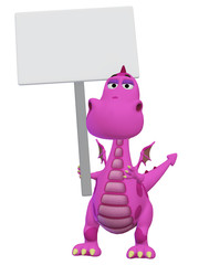 dragon 3d cartoon with a blank sign