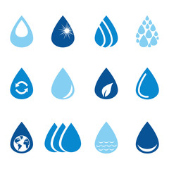 Set of vector water drops