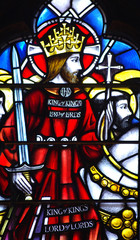 Jesus Christ as a knight on horseback. A stained glass window